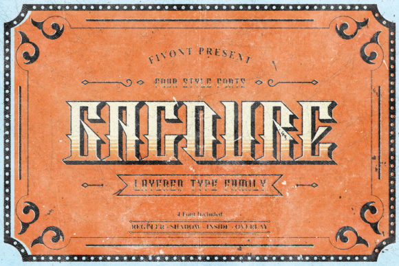 Print on Demand: Gacoure Family Display Font By Fivont