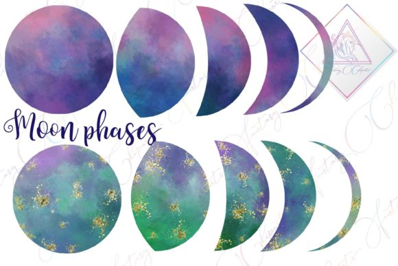 Print on Demand: Galaxy Moon Phases Clipart Graphic Illustrations By fantasycliparts