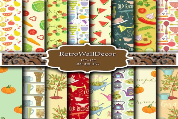 Print on Demand: Garden and Kitchen Digital Papers Graphic Backgrounds By retrowalldecor