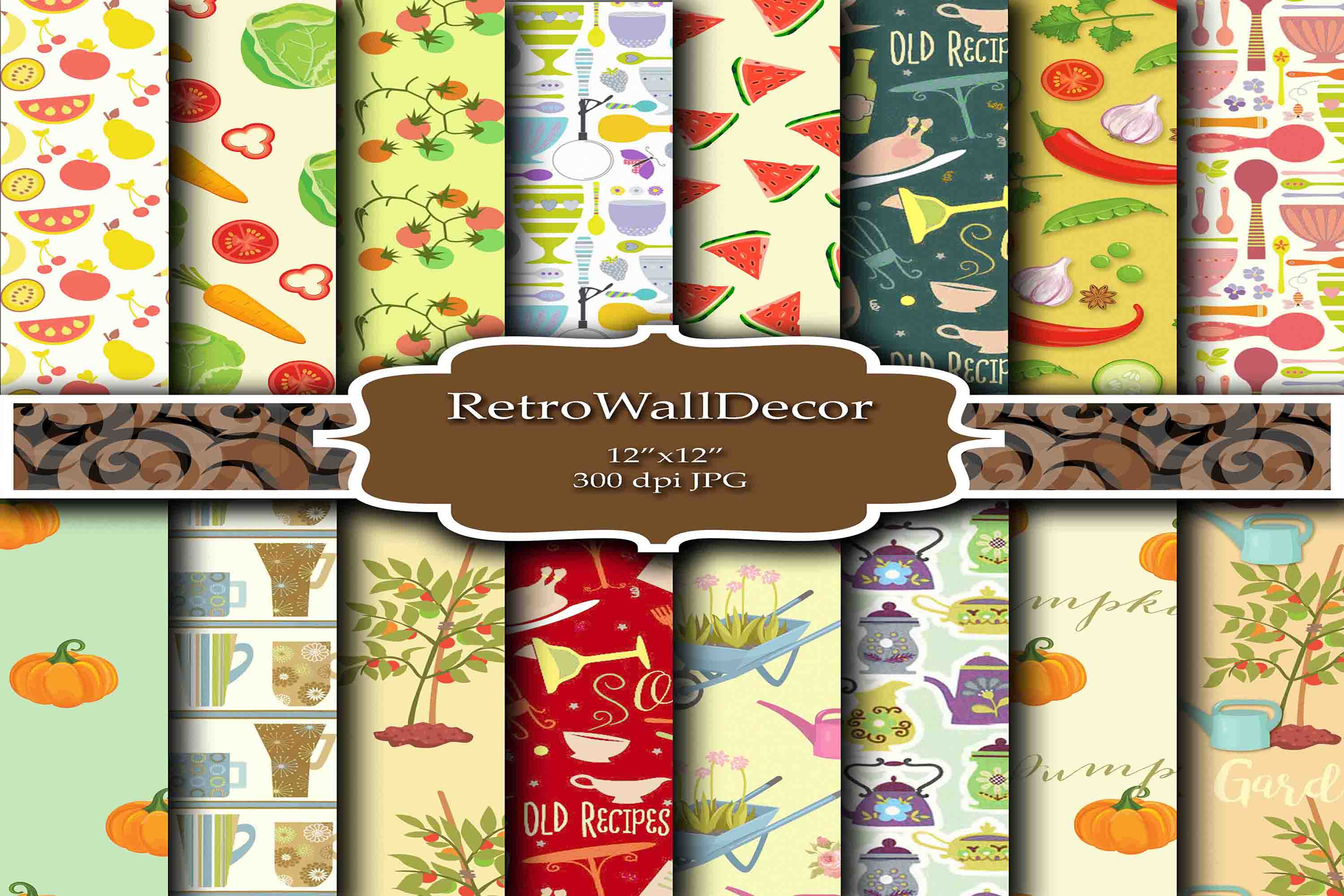 Garden And Kitchen Digital Papers Graphic By Retrowalldecor
