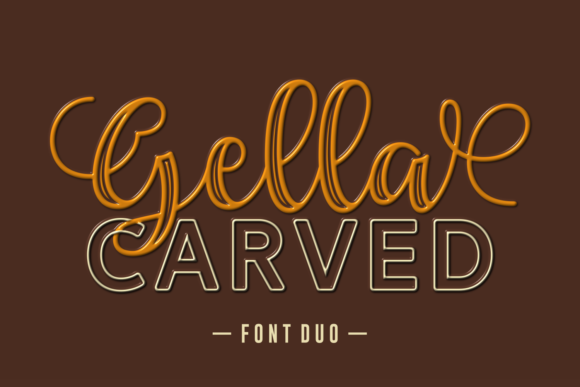 Print on Demand: Gella Carved Duo Display Font By Situjuh