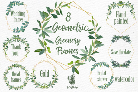Geometric Frames Greenery Clipart Graphic Illustrations By LeCoqDesign