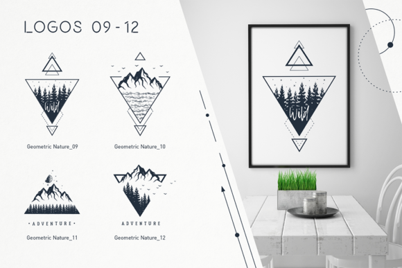 Geometric Nature. 20 Greative Logos Graphic By Cosmic Store Image 4