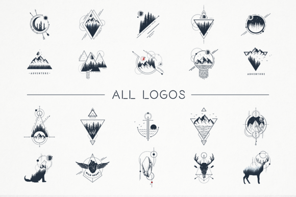 Geometric Nature. 20 Greative Logos Graphic By Cosmic Store Image 7