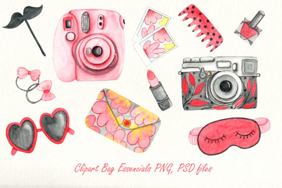 Print on Demand: Girly Bag Essentials Watercolor Collection Graphic Illustrations By tanatadesign - Image 3