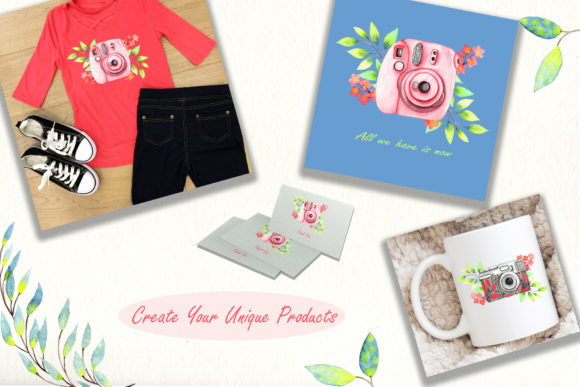 Print on Demand: Girly Bag Essentials Watercolor Collection Graphic Illustrations By tanatadesign - Image 6