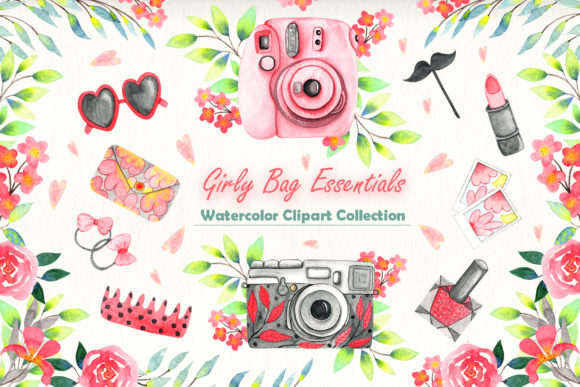 Print on Demand: Girly Bag Essentials Watercolor Collection Graphic Illustrations By tanatadesign