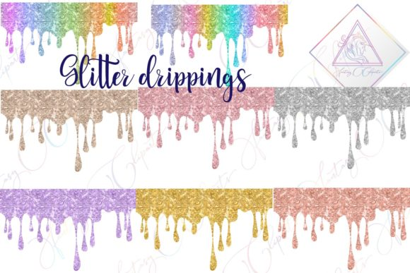 Print on Demand: Glitter Drippings Clipart Graphic Illustrations By fantasycliparts