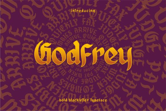 Print on Demand: Godfrey Blackletter Font By goodjavastudio