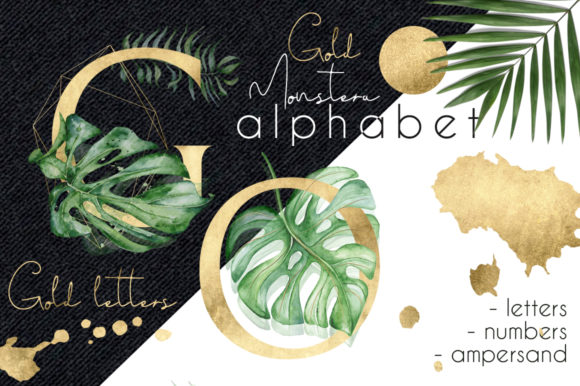 Gold Monstera - Tropical Leaves Alphabet Graphic Illustrations By EvgeniiasArt