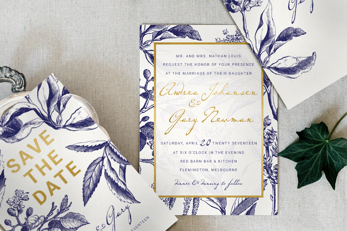 Download Free Gold Navy Wedding Invitation Suite Graphic By Blue Robin for Cricut Explore, Silhouette and other cutting machines.