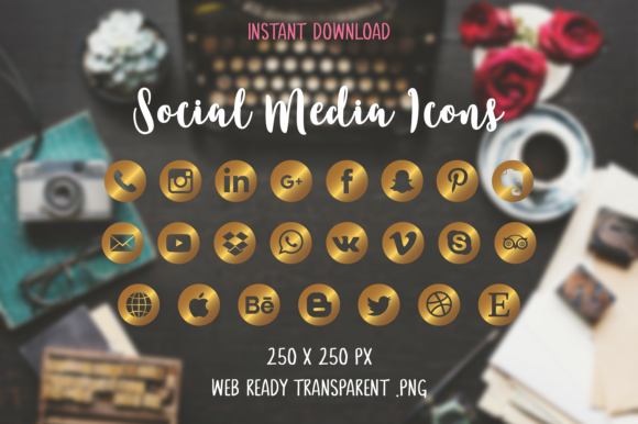Download Free Gold Social Media Icons Graphic By The Branding Place Creative for Cricut Explore, Silhouette and other cutting machines.