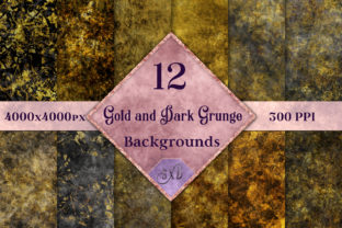 Print on Demand: Gold and Dark Grunge Backgrounds Graphic Backgrounds By SapphireXDesigns