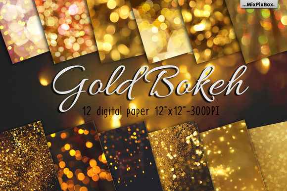 Print on Demand: Gold Bokeh Digital Paper Graphic Backgrounds By MixPixBox