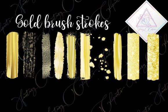 Print on Demand: Gold Brush Strokes Clipart Graphic Illustrations By fantasycliparts