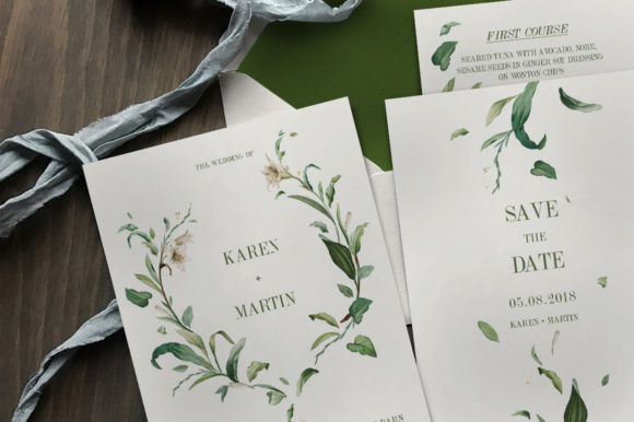 Download Free Green Foliage Wedding Invitation Suite Graphic By Blue Robin for Cricut Explore, Silhouette and other cutting machines.