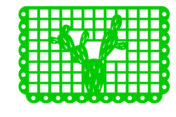Picado flag design with a cactus