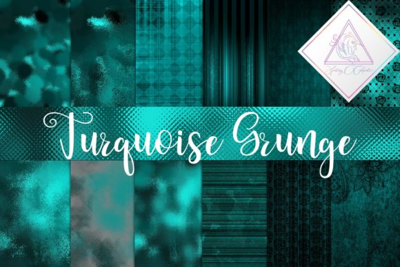 Print on Demand: Grunge Turquoise Digital Paper Graphic Textures By fantasycliparts