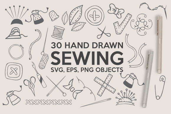 Download Free Hand Drawn Sewing Bundle Graphic By Artsbynaty Creative Fabrica for Cricut Explore, Silhouette and other cutting machines.