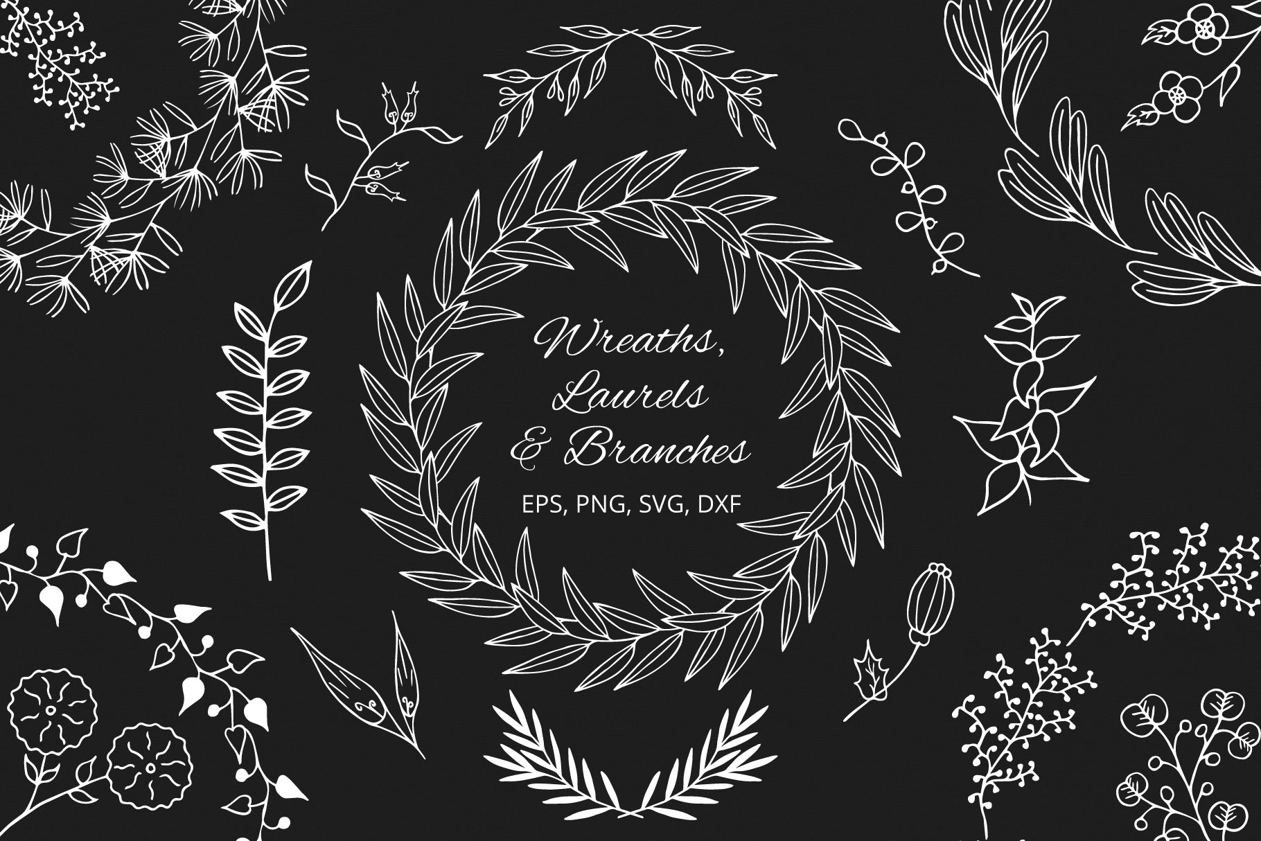 Download Free Hand Drawn Wreaths Graphic By Kirill S Workshop Creative Fabrica for Cricut Explore, Silhouette and other cutting machines.
