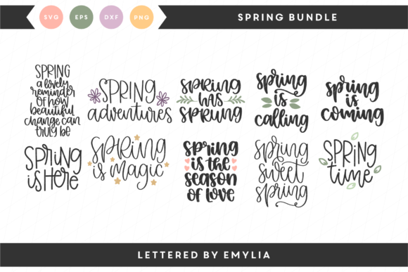 Hand Lettered Spring Bundle Graphic By Lettered by Emylia