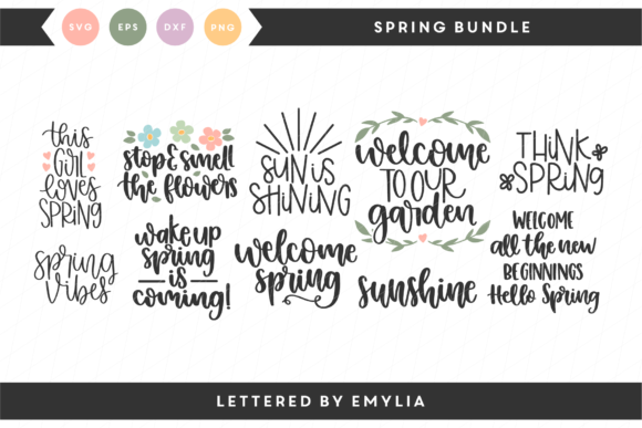 Hand Lettered Spring Bundle Graphic Crafts By Lettered by Emylia
