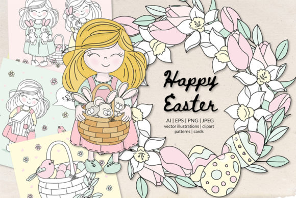 Happy Easter Illustration Set Graphic Illustrations By FARAWAYKINGDOM