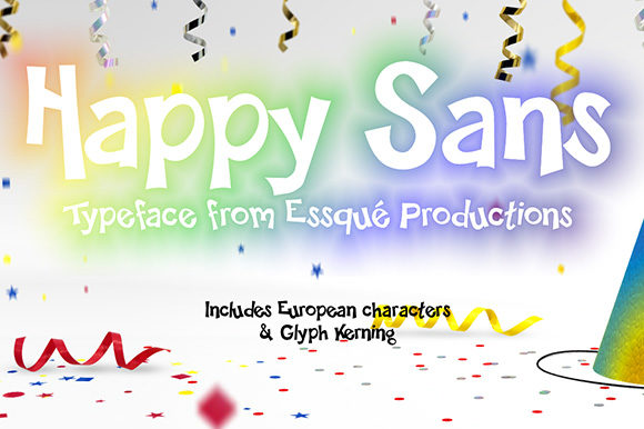 Print on Demand: Happy Sans Decorative Font By Essqué Productions