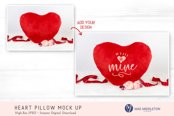 Heart Pillow Mock Up Graphic Product Mockups By maemiddletonstudio - Image 2