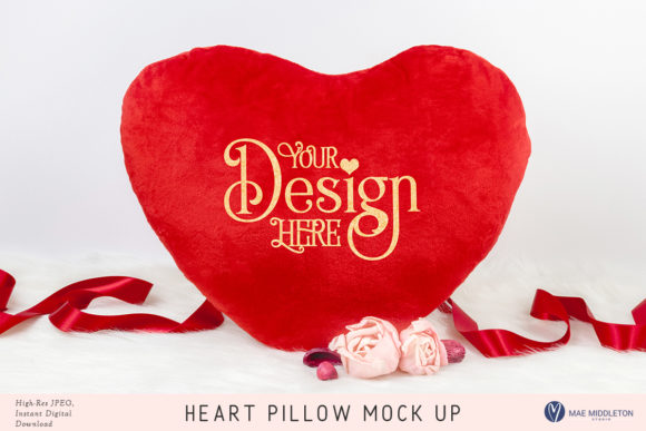 Heart Pillow Mock Up Graphic Product Mockups By maemiddletonstudio - Image 1
