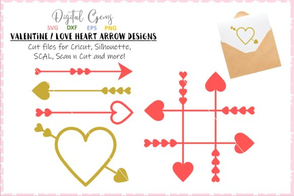 Download Free Heart Arrow Designs Graphic By Digital Gems Creative Fabrica for Cricut Explore, Silhouette and other cutting machines.