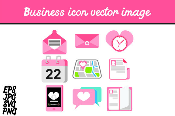 Print on Demand: Heart Business Icon Set Vector Image Graphic Icons By Arief Sapta Adjie