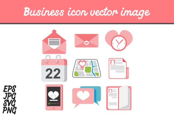 Print on Demand: Heart Business Icon Set Vector Image Graphic Icons By Arief Sapta Adjie - Image 2