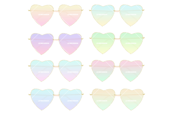 Print on Demand: Heart Shaped Sunglasses Clipart Illustration Graphic Illustrations By lilyuri0205