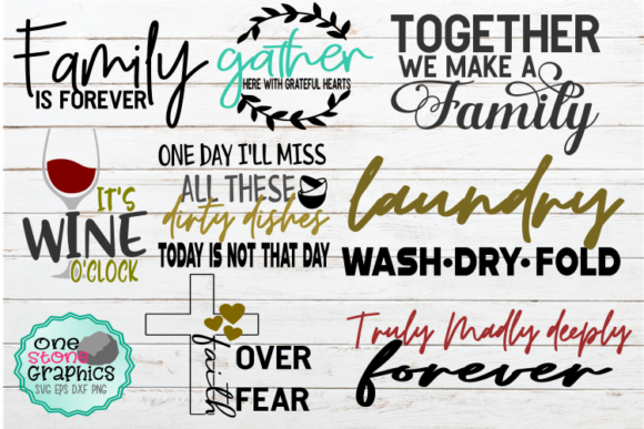Download Free Home Sign Bundle Graphic By Onestonegraphics Creative Fabrica for Cricut Explore, Silhouette and other cutting machines.