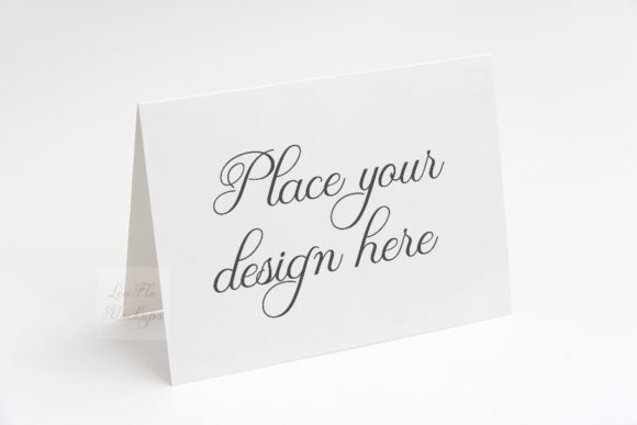 Print on Demand: Horizontal Greeting Card Mockup Graphic Product Mockups By Leo Flo Mockups - Image 1