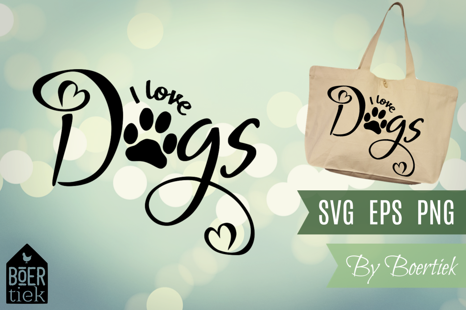 Download Free I Love Dogs Graphic By Boertiek Creative Fabrica for Cricut Explore, Silhouette and other cutting machines.