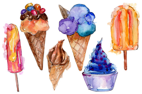 Print on Demand: Ice Cream Berry Watercolor Png Graphic Illustrations By MyStocks