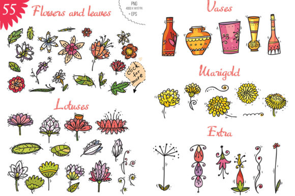 Print on Demand: Indian Flowers Graphic Objects By Zooza Art - Image 2