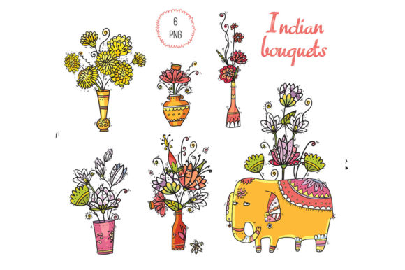 Print on Demand: Indian Flowers Graphic Objects By Zooza Art - Image 4