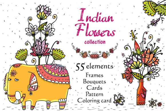 Print on Demand: Indian Flowers Graphic Objects By Zooza Art