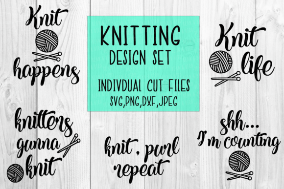 Print on Demand: Knitting Quote Set Graphic Crafts By Bean and  Bird