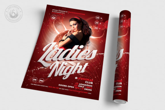 Download Free Ladies Night Flyer Template Graphic By Thatsdesignstore for Cricut Explore, Silhouette and other cutting machines.