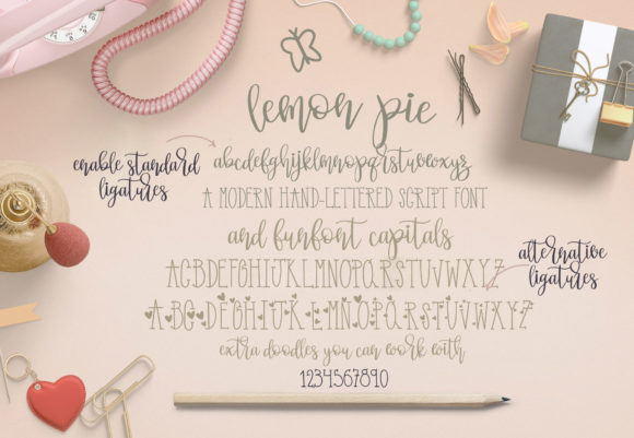 Print on Demand: Lemon Pie Funfont Duo Script & Handwritten Font By GraphicHouseDesign - Image 2
