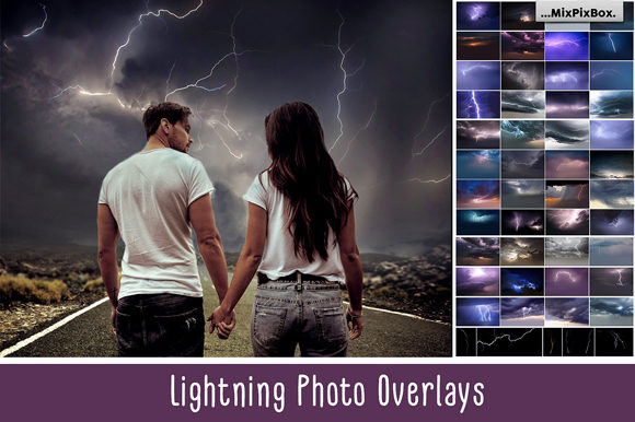 Print on Demand: Lightning Photo Overlays Grafik Layer-Stile von MixPixBox