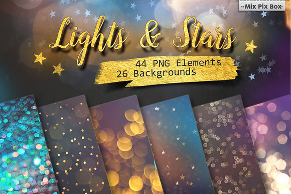 Lights And Stars Clipart Backgrounds Graphic By Mixpixbox