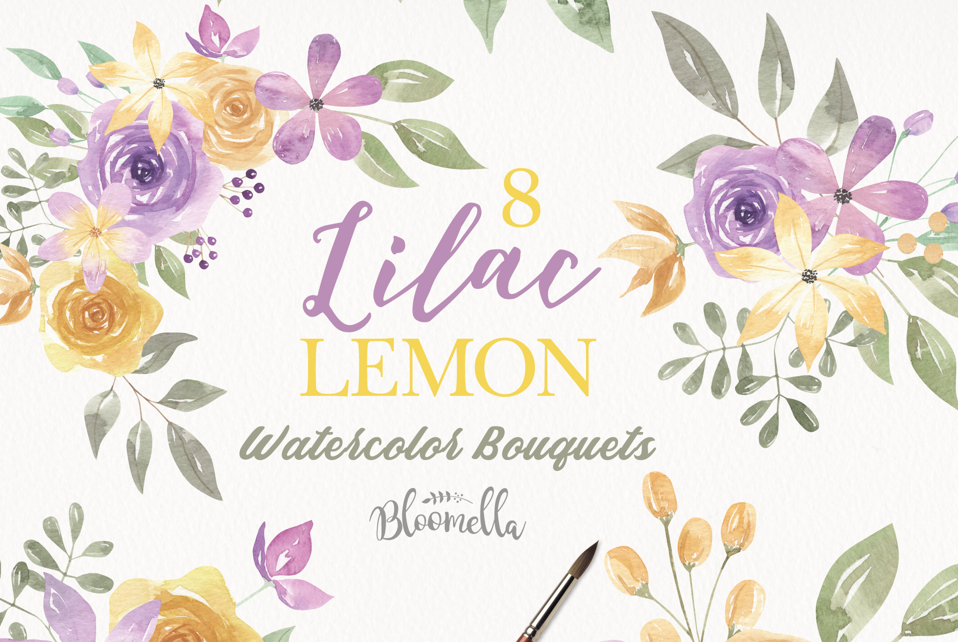 Download Free Lilac Lemon Flower Bouquets Graphic By Bloomella Creative Fabrica for Cricut Explore, Silhouette and other cutting machines.
