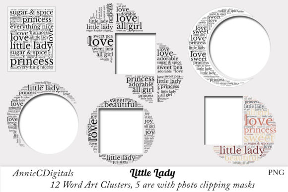 Download Free Little Lady Word Art Clusters Clip Art Graphic By for Cricut Explore, Silhouette and other cutting machines.