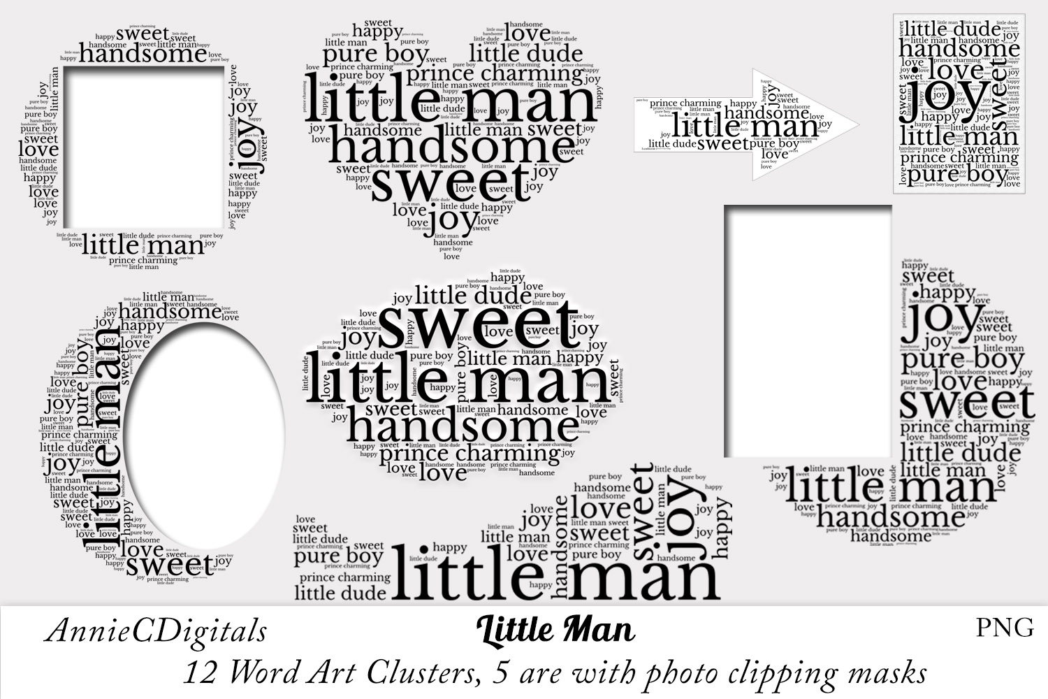 Download Free Little Man Word Art Clusters Clip Art Graphic By Anniecdigitals for Cricut Explore, Silhouette and other cutting machines.