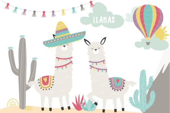 Download Free Llamas Graphic By Poppymoondesign Creative Fabrica for Cricut Explore, Silhouette and other cutting machines.